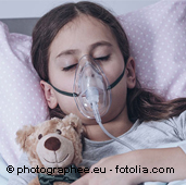 child with lung disease, inhaling
